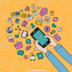 Dibujo de smartphone con iconos de aplicaciones
