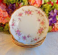 4 Vintage Edelstein German Porcelain Soup Bowls Delphine Pink Lavender Gold #Edelstein