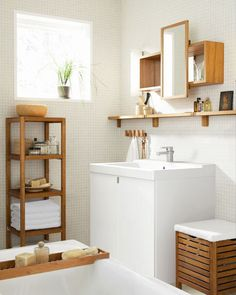 Monger shelves for bathroom Bamboo Bathroom, White Bathroom Tiles, Boho Bathroom, Ikea Molger, Deco Spa, Ikea Shelves, Small Bathroom Storage, Bathroom Interior Design, Minimalist Home