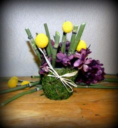 Craspedia -Billy Balls-Billy Buttons with Preserved Hydrangeas and Dried Horsetail-cute favors and more.