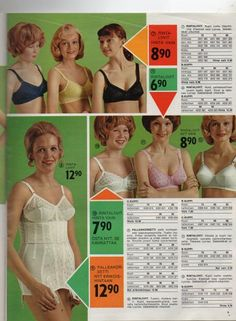 Anttila Erikoistarjousluettelo n:o 4 1972 - Huuto.net Vintage Bra, Vintage Girdle, Vintage Underwear, Vintage Lingerie, Women Lingerie, 60s And 70s Fashion, Fashion Today, Vintage Fashion, Fashion 2020