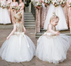 Lovely Ball Gown Wedding Flower Girl Dresses Sparkly Rose Gold Sequins Sash Floor Length 2016 Cheap Girls Pageant Dress Baby Communion Gowns Online with $64.69/Piece on Sweet-life's Store | DHgate.com