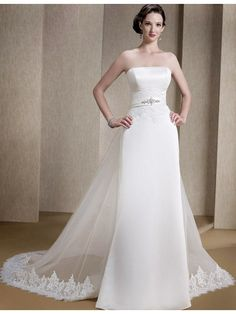 New Beautiful Hot Sell Vintage Style Strapless Satin A Line Wedding Dresses WDZ0...