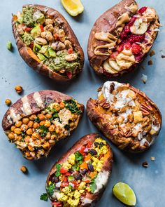 Stuffed Sweet Potatoes for Breakfast: 5 Ways! Kickstart your morning with these vegan Stuffed Breakfast Sweet Potatoes! Includes five sweet and savory recipes that are quick, easy to make, healthy, vegan and gluten-free. Sweet Potato Breakfast, Eat Breakfast, Healthy Breakfast Recipes, Vegetarian Recipes, Healthy Recipes, Healthy Foods, Free Breakfast, Breakfast Dishes, Lunch Recipes