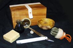 Tudor shaving kit in a yew box. Also very similar to the one I made for the The Tudors TV series :)