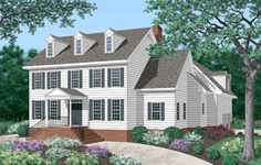 fine example of colonial architecture, this luxurious home design includes four bedrooms.  Colonial House Plan # 341008.