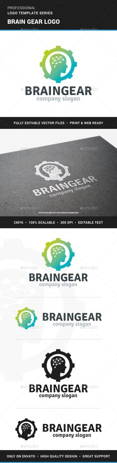 Buy Brain Gear Logo Template by LiveAtTheBBQ on GraphicRiver. The Brain Gear Logo Template A stylish and modern logo with a human head inside a cog wheel for many kinds of busines. Logo Design Template, Brochure Template, Logo Templates, Flyer Template, Brain Vector, Robot Logo, Branding, Brand Identity, Gear Logo