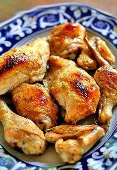 Easy baked chicken recipe. Chicken breasts, thighs, wings, and legs coated in olive oil and seasoned with salt and pepper baked in the oven.