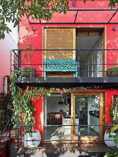 vermelho decoração fachada #fachadasverdesolivo