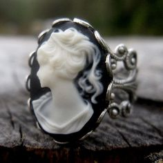 Lady Cameo Ring black and white acrylic cameo of a lady. On an antiqued sterling silver plated adjustable filigree ring. Easy to adjust to most sizes. Black Rings, Silver Rings, Black Silver, Black And White, Black Onyx, Cameo Ring, Pink Ring, Filigree Ring, Jewelry Rings
