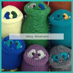Custom Smug Monster plush toy upcycled from by BirdIsTheWordDesign, $35.00