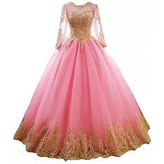 c0bc18e540 Onlybridal Prom Dresses Women s Long Sleeve Tulle Quinceanera Dresses With  Gold Lace