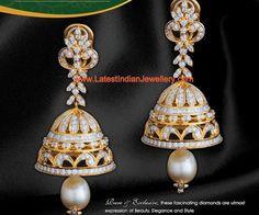 Diamond Jhumkas, Gold Jhumka Earrings, Gold Earrings Designs, Antique Earrings, Bridal Earrings, Bridal Jewelry, Diamond Earrings, Gold Designs, Diamond Jewellery