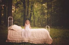 bed, forest, kid, girl
