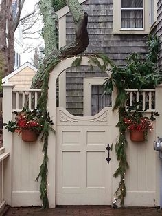 gate with garland and baskets