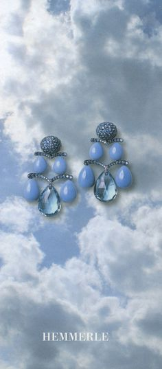 Hemmerle earrings   opal drops - sapphires - aquamarine briolettes - white gold