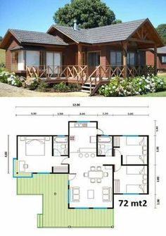 Vacation home KR Dream House Plans, Modern House Plans, Small House Plans, House Floor Plans, Small House Design, Home Design Plans, House Layouts, Little Houses, House In The Woods