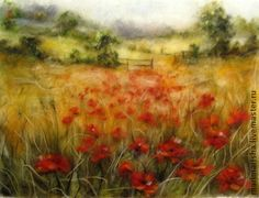 Картина из шерсти Маковое поле.