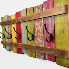Wood Coat Rack OOAK Coat Hook \/ Shabby Cottage Beach Chic Bohemian Furniture \/ Ships from Canada by RiversideStudioON on Etsy Arte Pallet, Pallet Art, Diy Pallet, Pallet Ideas, Wood Ideas, Pallet Designs, Pallet Bench, Outdoor Pallet, Into The Woods