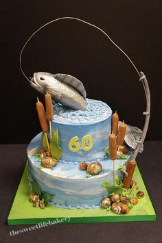 fish birthday cake | fishing cake this 60th birthday cake had a hand sculpted fish and ...