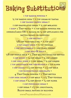 Baking Substitutions - Don& Get Caught With Your Measuring Cups Empty - Pre. Baking Substitutions - Don& Get Caught With Your Measuring Cups Empty - PreparednessMama Baking Tips, Baking Recipes, Baking Hacks, Baking Secrets, Meat Recipes, Cooker Recipes, Vegetarian Recipes, Egg Free Recipes, Healthy Recipes