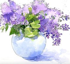 Shari Blaukopf ``` An embarrassment of riches Watercolor Pictures, Pen And Watercolor, Watercolor Flowers, Watercolor Paintings, Watercolors, Purple Painting, Purple Art, Watercolor Portraits, Watercolor Landscape