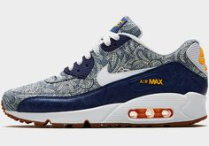 info for 43636 768ed Dark blue Crown Liberty Print Air Max 90 Trainers from the Nike x Liberty  collection.