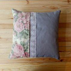Poduszka szary len + pudrowe róże