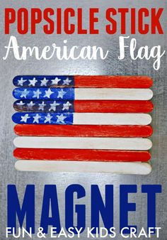 Create this fun and easy popsicle stick American flag magnet with your kiddos today. Great craft for Memorial Day Flag Day and the Fourth of July. Easy Crafts For Kids Fun, Camping Crafts For Kids, Crafts For Seniors, Kids Crafts, Daycare Crafts, Toddler Crafts, Popsicle Stick Crafts, Popsicle Sticks, Craft Stick Crafts