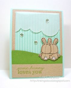 Some Bunny Loves You card (STS25)-designed by Lori Tecler/Inking Aloud-stamps and dies from Mama Elephant