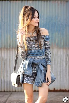 printed dress and denim jacket