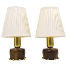 A Charming Pair Austrian Mid-Century Brass Side Lamps, 1950s   From a unique collection of antique and modern table lamps at https://www.1stdibs.com/furniture/lighting/table-lamps/
