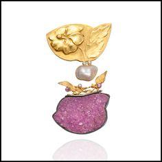 Linda Kindler Priest Gold Repoussé Brooch with Mineral Specimens.  Via lkindlerpriest.com