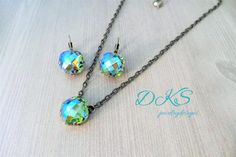 Peridot Glacier Blue, Swarovski Jewelry Set, Necklace, Earrings,16MM, Square, Classical Cut,  High Sparkle, DKSJewelrydesigns, FREE SHIPPING