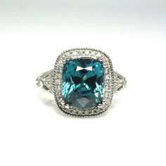SALE Natural Blue Zircon & Diamond Ring in 14k White by BestinGems, $1200.00 //OMG LOVE