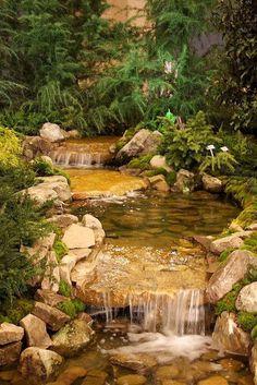 Another amazing backyard stream/waterfall. I'm repurposing my pond and need ideas Backyard Stream, Garden Stream, Backyard Water Feature, Ponds Backyard, Garden Pool, Backyard Waterfalls, Modern Backyard, Garden Planters, Water Falls Backyard
