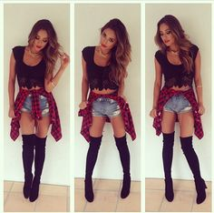 Hmm don't think I could get away with this in this lifetime methinks but... those Stuart Weitzman boots FML!   Plaid shirt + denim cutoffs + crop top + knee high boots + Shay Mitchell is a babe