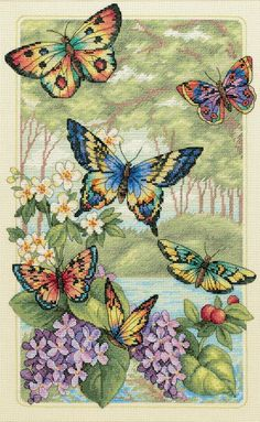 "Gold Collection Butterfly Forest Counted Cross Stitch Kit-10""""X16"""" 14 Count"