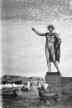 Built after the city had successfully repelled a siege, the Colossus at Rhodes was a 105-foot-high bronze statue of Helios, the Greek sun god. Some renderings have the statue straddling the harbor of Rhodes, but most likely it stood to one side or even on a hill above the city. It stood upright for only 56 years until an earthquake snapped it at the knees. The ruins lay in the harbor for over 800 years and remained an ancient tourist attraction.