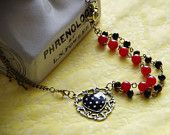 Your Black Heart OOAK Necklace: Red and Black Brass Simply Lovely Beaded Necklace with Keys