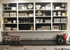 Creatively Living: Chalkboard Backed Open Cabinets-- love this for over the sink! Open Kitchen Cabinets, Kitchen Cabinets Before And After, Kitchen Cabinet Colors, Painting Kitchen Cabinets, Kitchen Decor, Kitchen Shelves, Kitchen Ideas, Ugly Kitchen, Black Cabinets