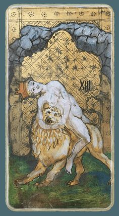 Force - Tarot card from the book Constant Guests by Patricia Nedelea Tarot Cards, Cool Art, Lion Sculpture, Strength, Statue, Books, Vintage, Tarot Card Decks, Libros