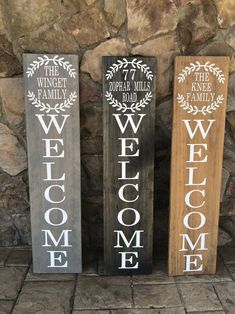 Welcome Family Vertical Outdoor Sign, Family Name Front Porch Sign, Housewarming Gift, Real Estate Agent Gift, Porch Welcome Sign Outdoor Welcome Sign, Welcome Signs Front Door, Wooden Welcome Signs, Front Porch Signs, Diy Wood Signs, Outdoor Signs, Welcome Home Signs, Front Porches, Rustic Signs