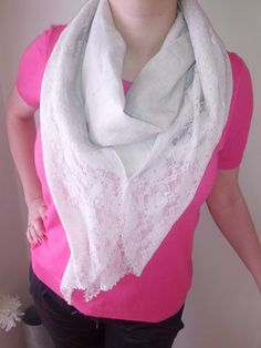 Beige Scarf with Lace and Crystal Beads   Beige by BellaTurka, $25.00
