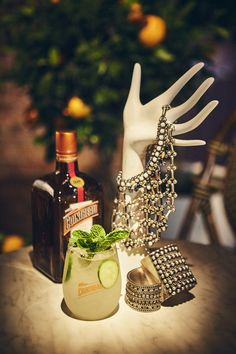 French cocktails adorned with jewels, like this Cointreau Cucumber Mint Rickey, waited to be tasted.