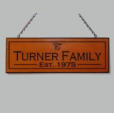 Family Name Sign - Custom Wood Carving - Wedding Gift Idea. $40.00, via Etsy.