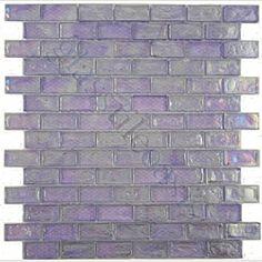 Purple Uniform Brick Purple Bricks Glossy & Iridescent Glass Tile- perfect for a lavender bathroom /// small line possible Lavender Bathroom, Purple Bathrooms, Purple Rooms, Glass Tile Backsplash, Glass Tiles, Backsplash Ideas, Mosaic Tiles, Wall Tiles, Purple Kitchen