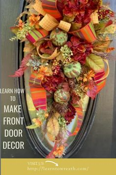 Learn to make Fall Decor for your home or to sell for profit.  You will learn how to choose colors, the best fillers to use for wreaths and arrangements, as well as floral techniques and terminology used by the pros. Silk Flower Wreaths, Deco Mesh Wreaths, Silk Flowers, Fall Door Decorations, Fall Decor, Front Door Decor, How To Make Wreaths, Holiday Wreaths, Grapevine Wreath