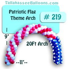 Flag patriotic arch red white blue balloon arch