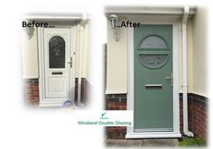 Chartwell Green composite door in a white upvc frame. Installed by Windseal Double Glazing based in Coventry & Warwickshire Composite Front Door, Coventry, Front Doors, Locker Storage, Composition, Traditional, Frame, Green, Modern